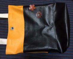 黄色と黒の合皮布トートバッグ